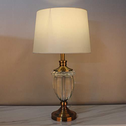 WSJTT Desk lamp Lámpara de lámpara de mesa blanca, lámpara de mesa de trofeo de arte de cristal, lámpara de mesa decorativa de noche en dormitorio de sala de estar, lámpara de mesa grande (puerto de t