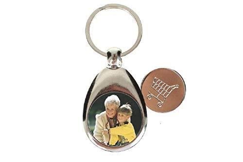 Schlüsselanhänger mit Foto Bild Mortiv und Text Namen und Einkaufschip selbst individuell Gestalten ✓ Anhänger für Schlüsselbund✓ Schlüsselband aus Metall mit magnetischem Chip✓ Einkaufswagenchip✓