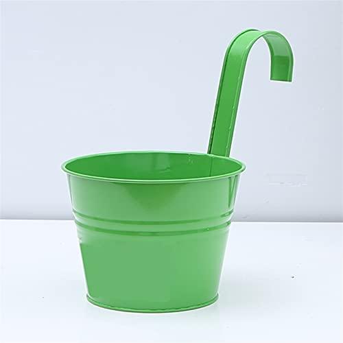 WGDPMGM Macetas Colgantes Colgante Flor Pot Casa Decoración Candy Tin Cubbet Montado Montado Monte Pot Iron Garden Flor Bucket (Color : Green)