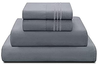 Bed Sheets Set Queen Size Anvo Luxury Thicker Microfiber Sheets Hypoallergenic Soft 1800 Thread Count 16 inch Deep Pocket, Dark Grey 4PC