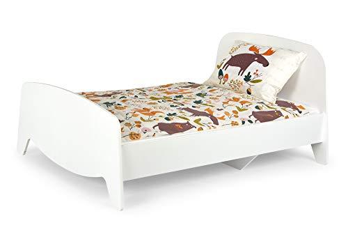Leomark Blanco Cama con regulación del largo - Sophia - Marco de Cama en el estilo escandinavo, Moderno Dormitorio para Niños, 3 ajustes de longitud, Espacio para Dormir: 200/90 cm (Colchón 140/90 cm)