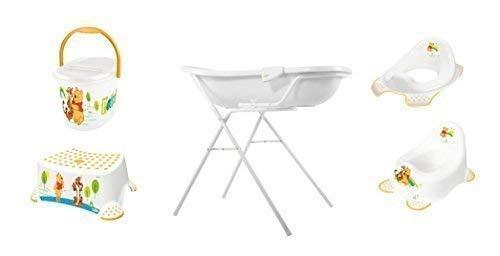 7er Set Disney Winnie Pooh Blanc Baignoire XXL 100 cm + Support Baignoire + Pot + Toilette+ Tabouret+ Sceau à Couches + Gant