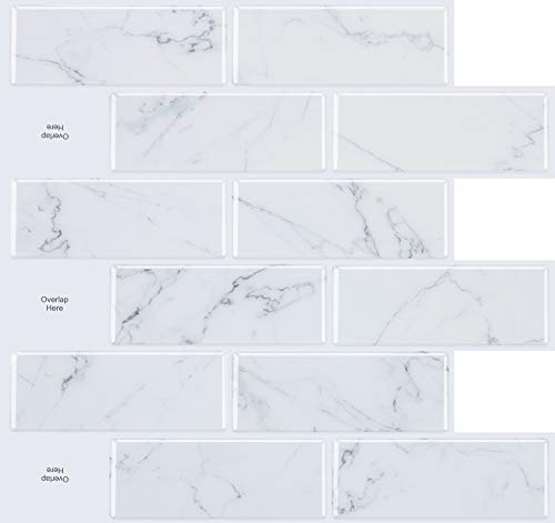 STICKGOO 10-Sheet Peel and Stick Subway Tile Backsplash, 13 x 12  Marble Look Kitchen Backsplash Peel and Stick Tiles
