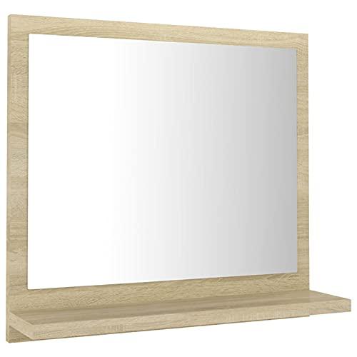 Tidyard Lustro łazienkowe z półką, lustro ścienne, lustro łazienkowe, lustro wiszące, meble łazienkowe z płyty wiórowej i szkła, rozmiar do wyboru