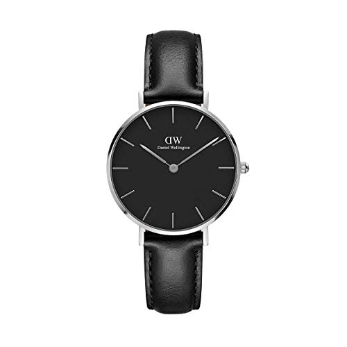 Daniel Wellington Petite Sheffield Orologio Donna, 32mm, in Pelle, Nero/Argento