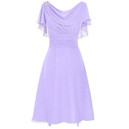 LOPILY Abendkleid Große Größen Damen Rüschen Kurzarm V-Ausschnitt Cocktail Kleid Rückenfreies Kleid Übergrößen Festliche Kleider für Damen Große Größen Kleid für Hochzeit Gast (Lila, DE-34/CN-S)