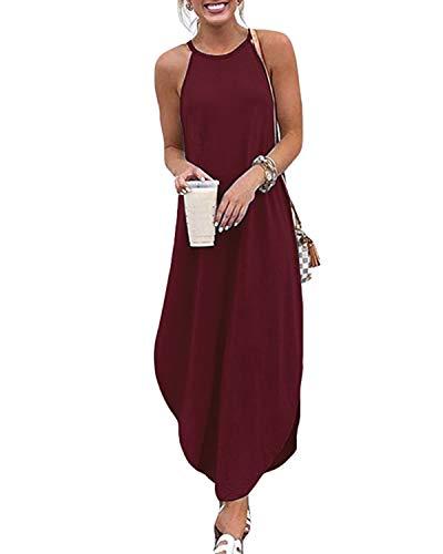CNFIO Vestidos Largos Verano Mujer Casual Sin Mangas Vestido Playa de Fiesta Mujer Vino Tinto 2XL