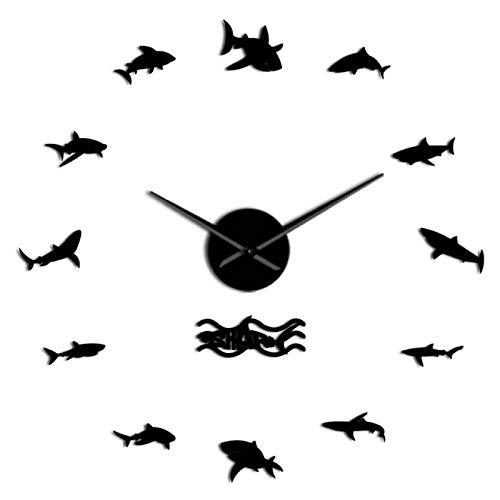 hufeng Reloj de Pared Diseño de tiburón oceánico Tamaño Moderno Reloj de Pared DIY Ajustable Mar Animales Marinos Cuarzo Acrílico Efecto de Espejo Etiqueta Reloj