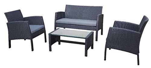 ARO Juego de muebles de jardín para exteriores, 2 sillones, 1 banco de 2 plazas, 1 mesa de polirratán, 75 cm x 70 cm x 113 cm (alto x ancho x profundidad).