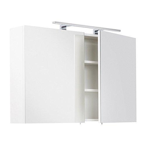 Lomadox Badezimmermöbel Spiegelschrank Badspiegel in weiß, 100cm Breite, mit 60cm LED-Aufbauleuchte, Schalter und Steckdose, Made in Germany