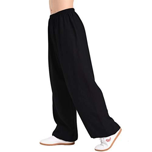 Men's Women Martial Arts Pants Kung Fu Bamboo CottonLinen Trousers Tai Chi Pants (Large, Black)