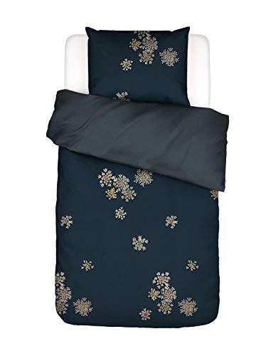 ESSENZA Lauren Bed Linen Floral Cotton Satin Blue 155 x 220 cm + 1 x 80 x 80 cm