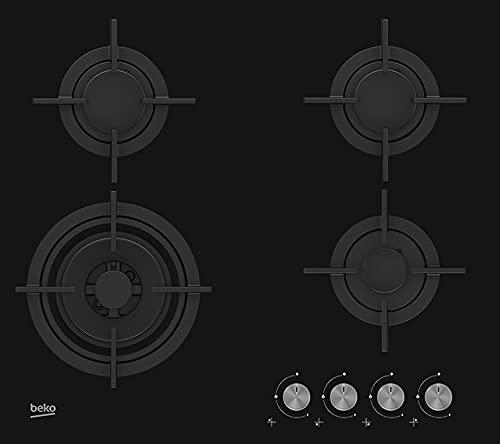 Beko HILW64222S plaque Noir Intégré (placement) Gaz 4 zone(s)