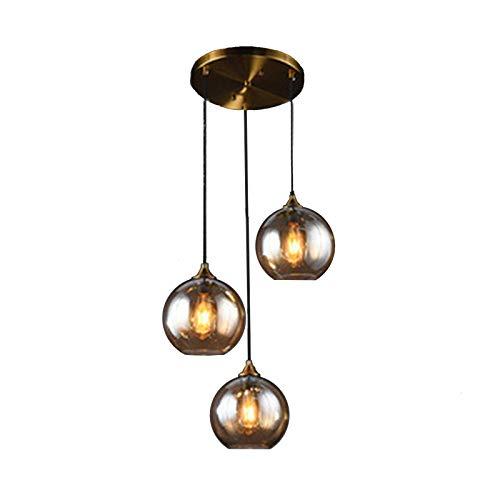 MZStech Lámpara colgante retro industrial de 3 vías, lámpara colgante de cristal con forma de globo (Ámbar, Redondo)