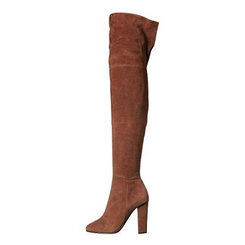 YOWAX Las Mujeres Botas de Ante Zapatos de tacón Alto Atractivos del talón Grueso Delgado para Oficina del Partido de Tarde sobre los Cargadores de la rodilla-EU37