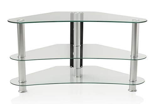 """MountRight Curved Corner TV Stand For Up To 42"""" LED, LCD & Plasma Televison Screens - Clear glass/Silver legs"""