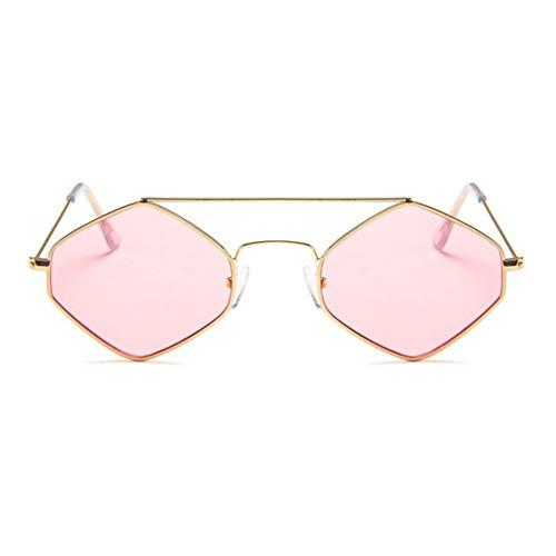 WOIA Gafas de Sol Retro hexagonales de Metal Chao REN Gafas de Sol de Diamante con Montura pequeña, Dorado-Rosa