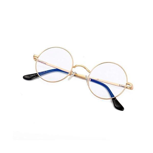 Eylrim Blue Light Blocking Glasses for Women Men Retro Round Clear Lens Circle Metal Frame Eyeglasses Non Prescription