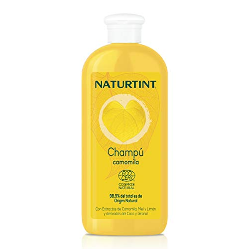 Naturtint Champú Camomila Natural. Intensos Reflejos Dorados. Ecocert. 98,9% Ingredientes Naturales | Camomila Miel y Limón | 330ml