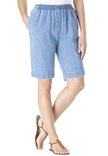 Woman Within Women's Plus Size Elastic-Waist Cotton Short - 22 W, Light Stonewash Blue