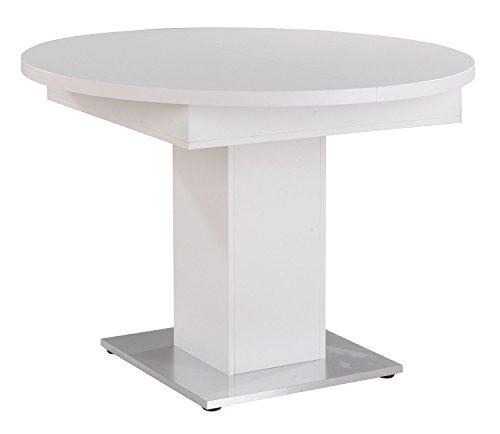 Esstisch Küchentisch Ausziehtisch | Ø 104 cm | Dekor | Weiß matt | ausziehbar