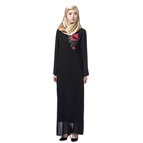 WUDUBE Mode Frauen Muslimische Robe, Dubai Frauen Muslim Elegantes Kleid Langarm Arabisches Kleid Islam Abaya Jilbab Kleid