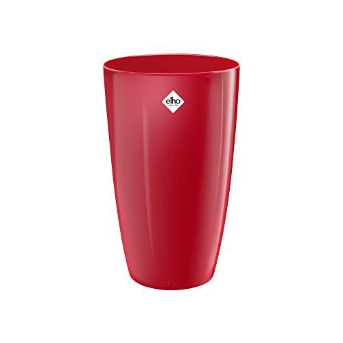 Elho Brussels Diamond Round High Maceta Redonda Alta, Lovely Red, 27 cm