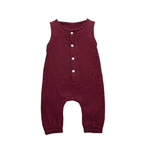 3 Months - 2Years Children's Kids Baby Girls Boys Summer Sleeveless Ruffles Solid Color Jumpsuit Comfortable Vest Romper (Wine, 18-24 Months)