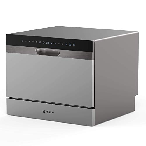 22 Inch Compact Countertop Dishwasher, MOOSOO Portable Dishwasher with 5 Washing Cycles, 6 Large...