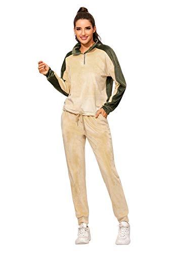 Conjunto Deporte Mujer Manga Larga Chandal Completo Invierno Ropa de Casa Polar Pijama Franela Niña Peludo Traje Deportivo 2 Piezas Jogging Pantalon y Camiseta para Dormir Casual Gimnasio Danza Yoga