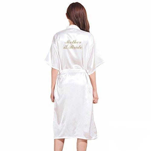 BOYANN Madre de la Novia Estampado en Caliente Ropa de Dormir Sexy Batas y Kimonos de Satén, Blanco XXXL