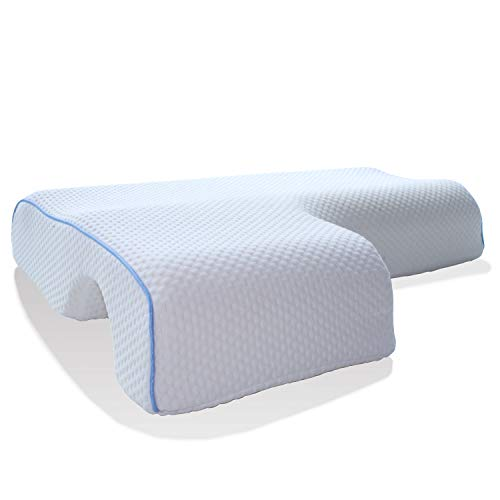 Memory Foam Pillow for Sleeping, Arched Cuddle Cervical Pillow for Neck Pain Relief, Bed Couples Side Sleeper Pillows for Eco Gel Arm Pillows for Sleeping
