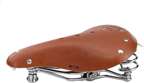 TentHome Vintage Fahrrad Sattel Fahrradsattel Leder Classic Ergonomischer Ledersattel gefederter Fahrradsitz mit Federung für Damen und Herren (Hellbraun)