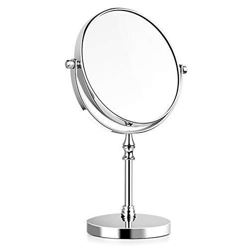 JINBAO Espejo de Maquillaje Espejo de Tocador de Escritorio de Doble Cara de Alta Definición Grande de 8 Pulgadas, Un Lado 3 Aumentos Giratorio de 360 °, Plateado