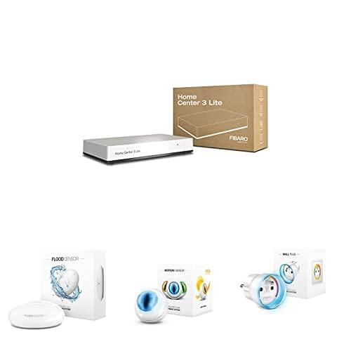 Fibaro Z-Wave+ Home Center 3 Lite HC3L-001 Controlador de domótica + Sensor de Fugas de Agua e Inundaciones + Sensor de Movimiento LED + Adaptador para Enchufe (65 mm, 4,3 cm)