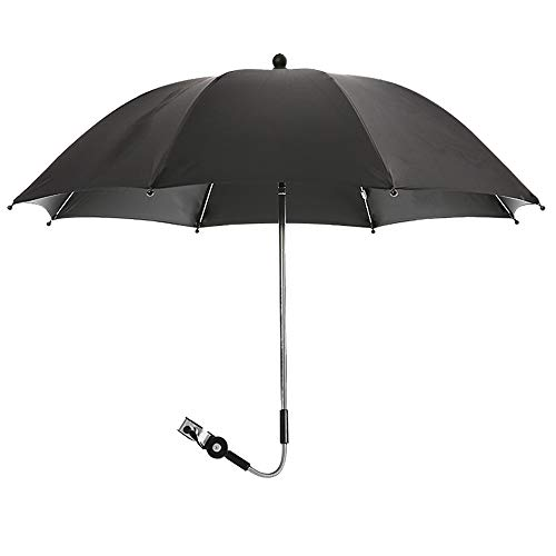 JuneJour Universal Sonnenschirm Sonnenschutz für Kinderwagen & Buggy Regenschirm Kinderwagen UV Schutz 50+ und 360°Drehung, 75 cm Durchmesser