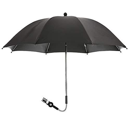 bxc Sombrilla giratoria de 360 grados para cochecitos y cochecitos, protección solar, protección contra la lluvia, protección contra los rayos UV 50+, resistente y duradero (color negro)