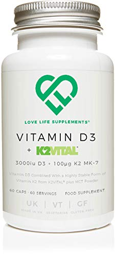 Vitamin D3 + K2 (MK-7) by LLS | 3000iu D3 + 100μg K2VITAL K2 MK-7 | Includes MCT Powder | Love Life Supplements - 'Clean, Effective, High Quality'