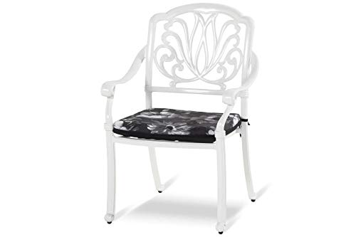 HARTMAN Amalfi Diningsessel, weiß, Alu-Guss, inkl. Wendekissen, Gartensessel, Garten-Stuhl mit Auflagen, Balkonstuhl Garten-Stuhl