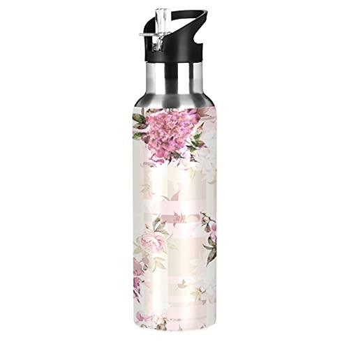 xigua Elegante botella de agua rosa, botella de deportes al aire libre con tapa de pajita de boca ancha, termo aislado al vacío de doble pared de acero inoxidable para la escuela Fitness Gym 22 oz
