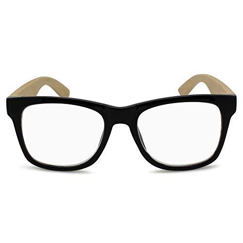 2SeeLife Eco Bamboo Reading Glasses: Horn Rimmed Readers, Oversize Square Eyeglasses Frame, Fully Magnify Lens | Iconic Black, 3.00
