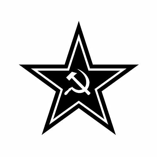 A/X Sticker de Carro 12,9 CM * 12,3 CM Ruso CCCP Rusia Unión Soviética Martillo Hoz Pegatina de Coche Vinilo calcomanía Negro Plata C10-01436