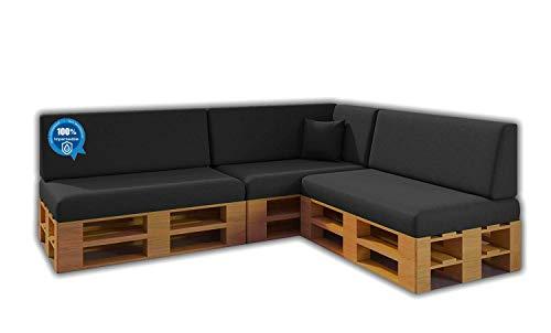 Pack Ahorro Conjunto 8 Cojines para Sofa de palets / europalet 3 Asientos + 3 Respaldos + Rinconera + Cojin | Desenfundable | Interior y Exterior | Color Gris Nautico | 100% Impermeable