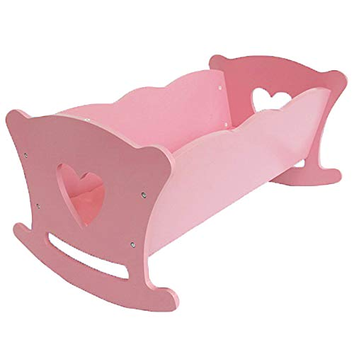 WODENY Doll Cradle Crib Rocking Bed Wooden Doll Furniture Accessory for Kids Children Play Toy (Pink)