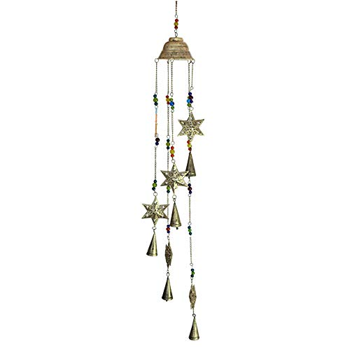 Crossing Seven Seas Handmade 3.5 Inch Etched Star String with Colorfull Beads and 3 inch Cone Bells, Windchime Bells Bead Recycled Metal Rustic Garden Decor Indoor Outdoor