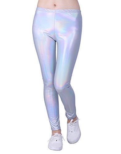 HDE Girls Shiny Wet Look Leggings Kids Liquid Metallic Footless Tights (4T-12) (Iridescent 10/12)