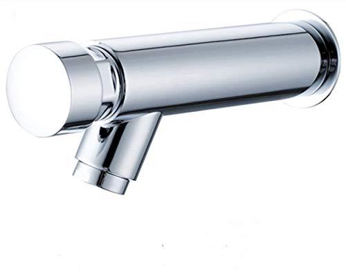 Grifo de agua fría de latón montado en la pared del baño del grifo de cierre automático del lavabo lavado de manos ahorro de agua, cromo