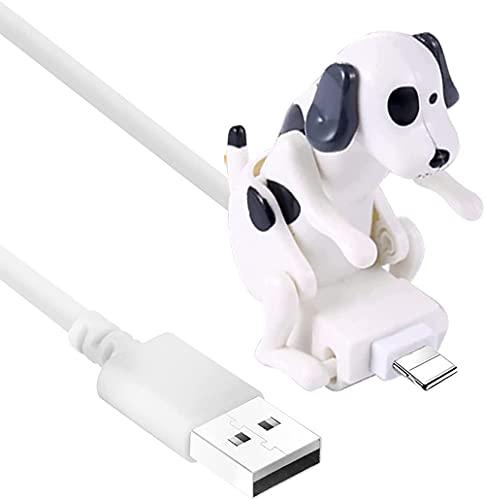 Cable de cargador rápido para perros divertidos de 1.2M, mini cable lindo portátil para perros, juguete, teléfono inteligente, cargador USB, línea de datos para varios modelos (blanco, for Lightning)