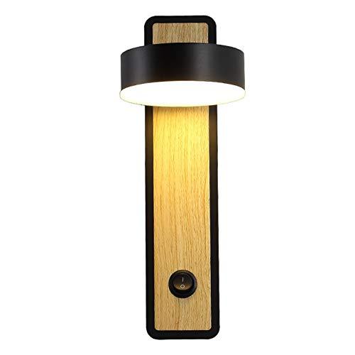 TYXL Luz de pared Nordic Dormitorio De La Lámpara Lámpara De Pared LED Lectura De Cabecera Salón Pasillo Del Hotel L30 * H10cm Giratorio (blanco, Negro) (Color : White)
