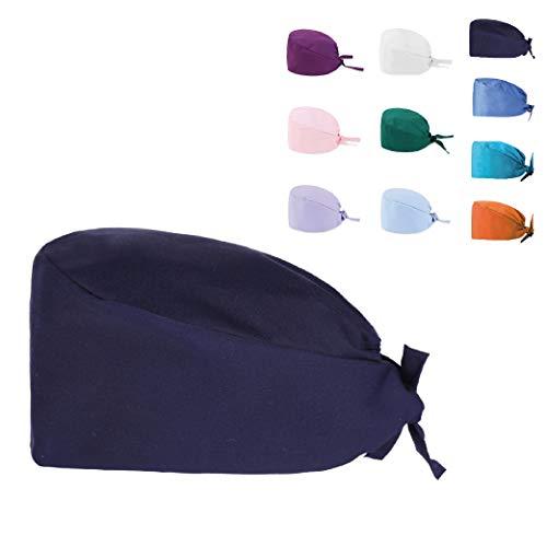 KALLPA Gorro de enfermería, individual, gorros quirúrgicos colores lisos, Unisex (azul marino)